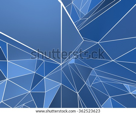 3D Abstract Pattern with Blue Shading & White Wireframe