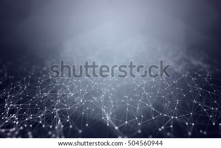 3D Abstract Polygonal Space Blue Background with Low Poly Connecting Dots and Lines - Connection Structure - Futuristic HUD Background