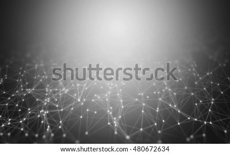 3D Abstract Polygonal Space Grey Background with Low Poly Connecting Dots and Lines - Connection Structure - Futuristic HUD Background