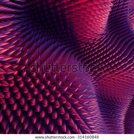 3d abstract purple red background, pink prickles, nap macro texture - stock photo