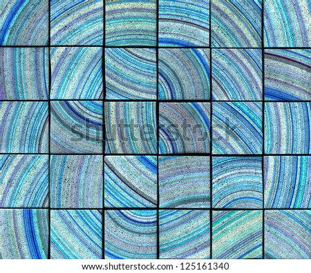 3d abstract radial striped tile backdrop in blue - stock photo