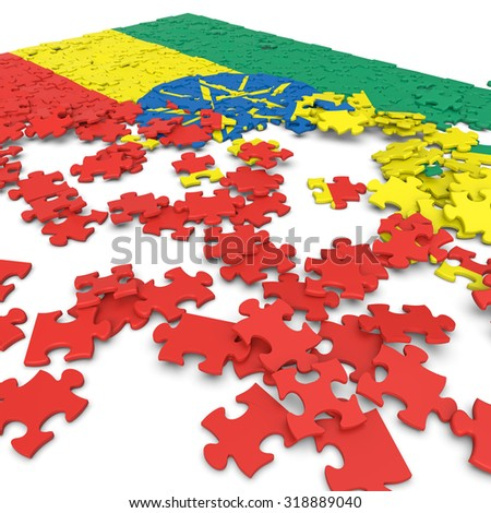 3d abstract randomly scattered puzzle flag of the Ethiopia - stock photo