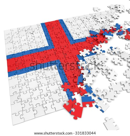 3d abstract randomly scattered puzzle flag of the Faroe