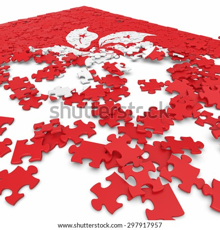3d abstract randomly scattered puzzle flag of the Hong Kong