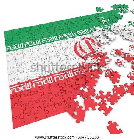 3d abstract randomly scattered puzzle flag of the Iran