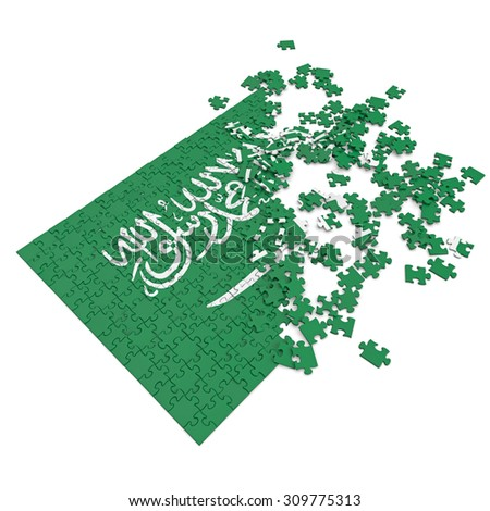 3d abstract randomly scattered puzzle flag of the Saudi Arabia