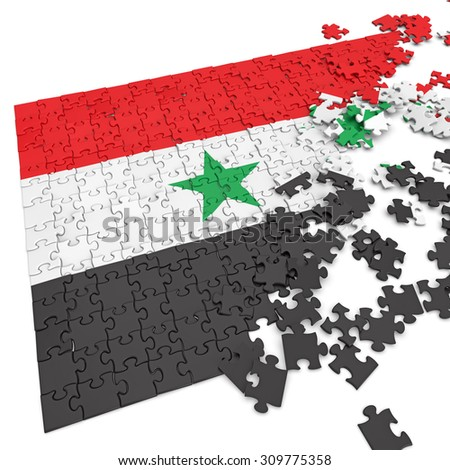 3d abstract randomly scattered puzzle flag of the Syria - stock photo