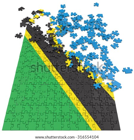 3d abstract randomly scattered puzzle flag of the Tanzania