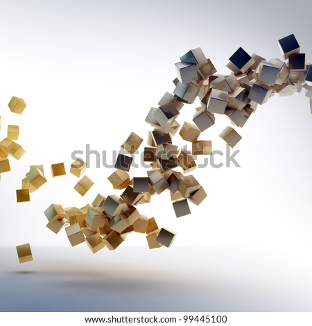 3D abstract rendering - flying shiny cubes - stock photo
