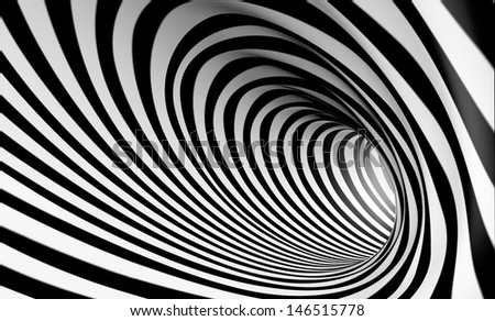 3d abstract spiral background in black and white - stock photo