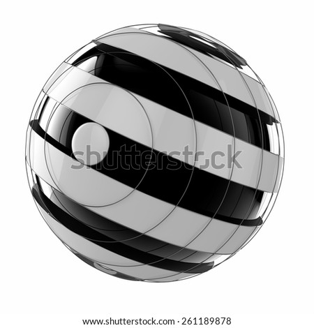 3d abstract techno sphere - stock photo
