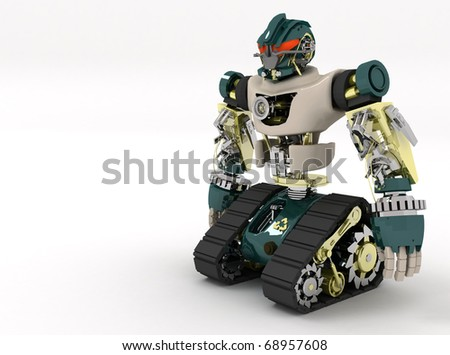 3d advanced android character - stock photo