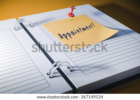 3d agenda with sticky note, close up