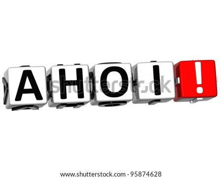 3D Ahoi block text on white background - stock photo