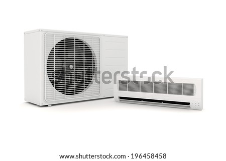3d air conditioning unit on white background - stock photo