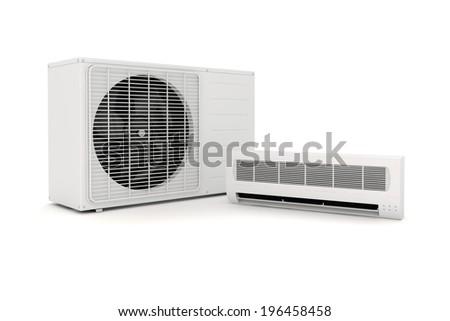 air conditioning unit. 3d air conditioning unit on white background