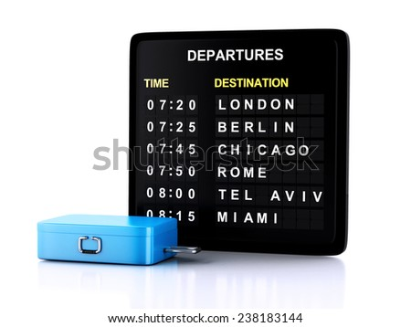 3d airport board and travel suitcases on white background - stock photo