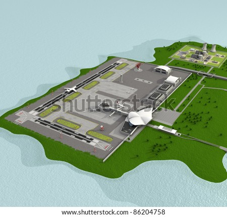 3d airport with planes - stock photo