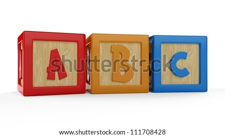 3D alphabet ABC cubes isolated on white - stock photo