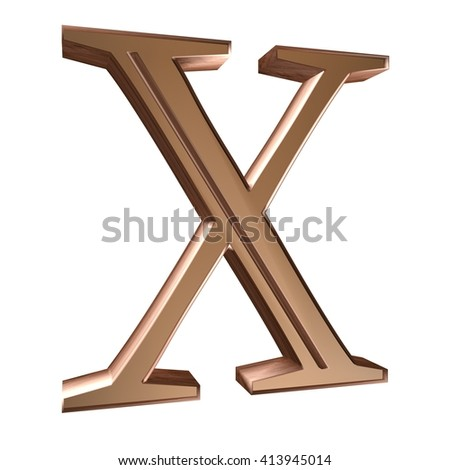 3D Alphabet bronze color with metal texture, isolated on white background. Letter X - stock photo