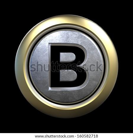 3D alphabet, letter B isolated on black background - stock photo