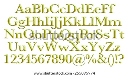3D alphabets on isolated white.