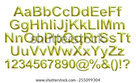 3D alphabets with numbers on isolated white background