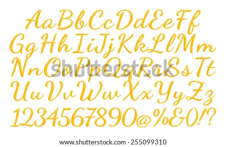 3D alphabets with numbers on isolated white background  - stock photo