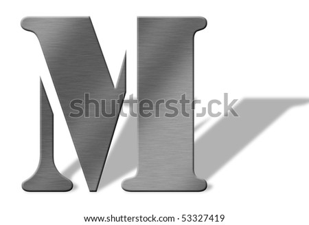 3D Aluminum letters of the alphabeth. Isolated with shadow on white. Numbers also available. - stock photo
