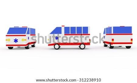 3D ambulance van on isolated white background - stock photo
