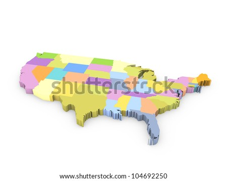 3d american map - stock photo