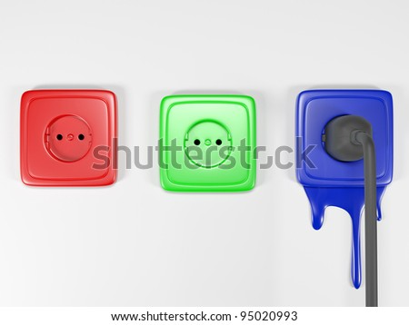 3d an illustration: multi-colored building sockets symbolizing color space RGB