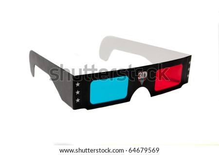 3d anaglyph glasses isolated on white background