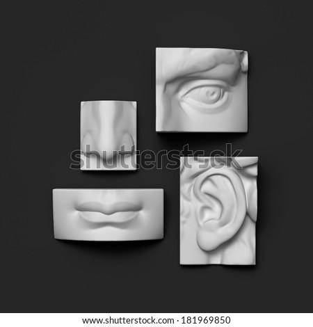 3d anatomy sculptural face details, David sculpture parts - stock photo