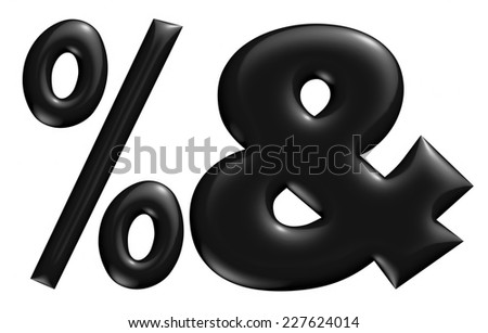 3D % and & digit later in black on isolated white background. - stock photo