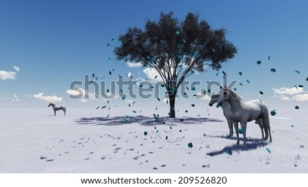 3d animation-scene of Morning Pasture.  Horses grazing in a pasture in the morning light - stock photo