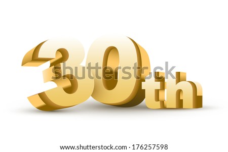 3d anniversary, 30th, isolated on white background