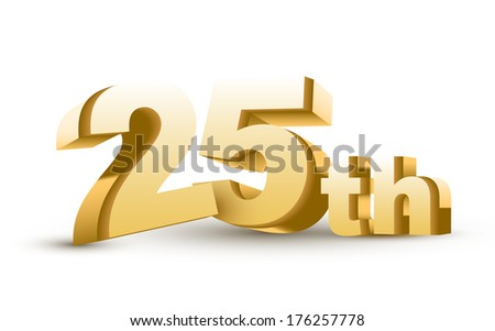 3d anniversary, 25th, isolated on white background - stock photo