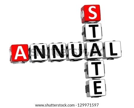 3D Annual State Crossword on white background