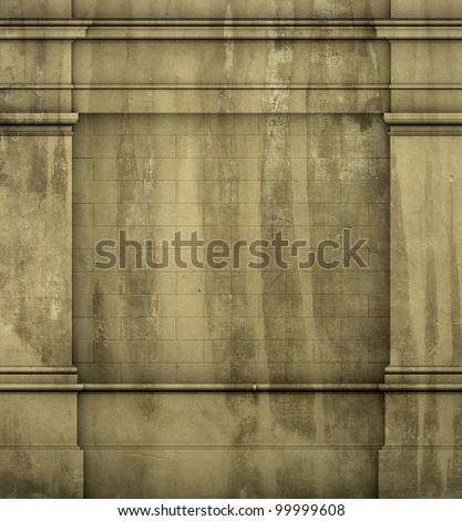 3d antique classic architecture Greek Roman wall grunge render - stock photo