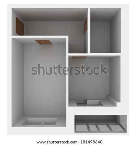 3d apartment plan. Isolated render on a white background