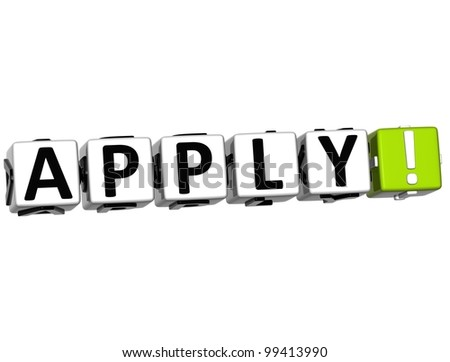 3D Aplly Block Text  on white background - stock photo