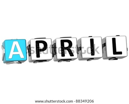 3D April Block Text on white background