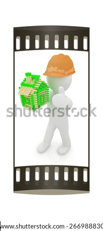 3d architect man in a hard hat with thumb up with log house from matches pattern. 3d image. Isolated on white background. The film strip - stock photo