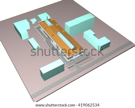 3d architecture building model business center
