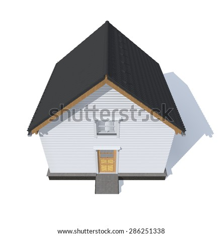 3D architecture model house gray  isolated in white - stock photo