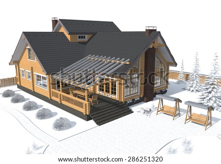 3D architecture model house gray with white environment - stock photo