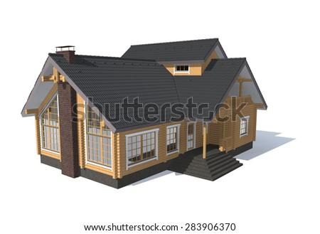 3D architecture model house  isolated on white - stock photo