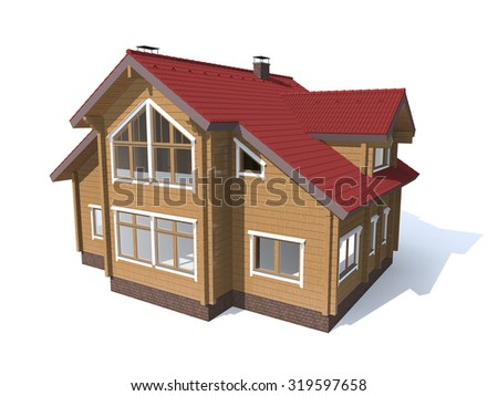 3D architecture model red house  isolated in white
