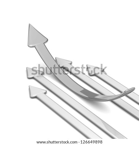 3d arrow.  arrow leader, gray arrows behind. Business concept. Illustrations business and sport competition on the white background. arrow to the left (up). Background with space for your text
